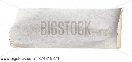 White adhesive paper tape stick over isolated background, blank fastening packaging wrinkled sticker
