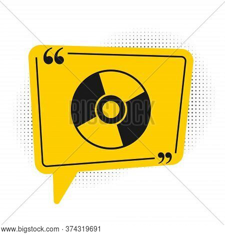 Black Cd Or Dvd Disk Icon Isolated On White Background. Compact Disc Sign. Yellow Speech Bubble Symb