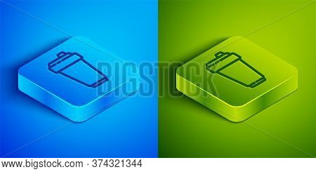 Isometric Line Fitness Shaker Icon Isolated On Blue And Green Background. Sports Shaker Bottle With