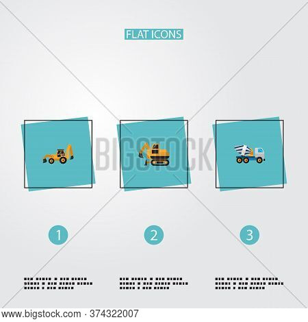 Set Of Construction Icons Flat Style Symbols With Tractor Backhoe Loader, Crawler Excavator, Concret