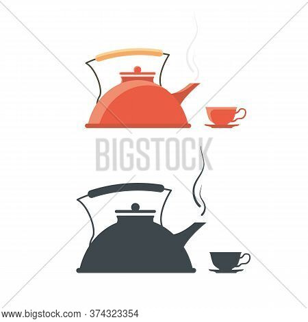 Kettle With A Cup. Vintage Teakettle Vector Illustration Of A Teapot.