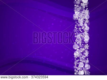 Xmas Theme Sale With Ultraviolet Snowflakes. New Year Frosty Backdrop. Winter Border For Flyer, Gift