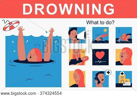 Drowning And What To Do Vector Cartoon Infographics.
