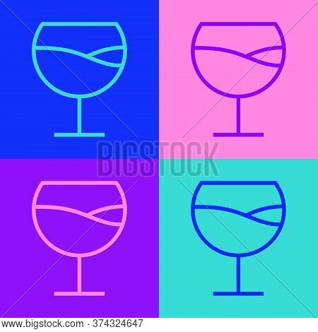 Pop Art Line Wine Glass Icon Isolated On Color Background. Wineglass Sign. Vector Illustration