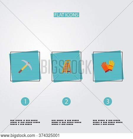Set Of Industry Icons Flat Style Symbols With Pick Axe, Worker Gloves, Ladder And Other Icons For Yo