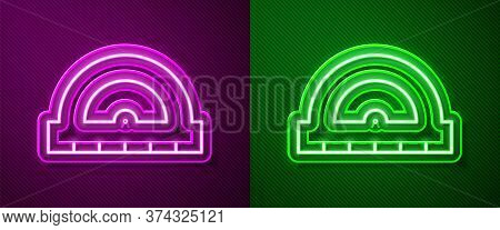 Glowing Neon Line Protractor Grid For Measuring Degrees Icon Isolated On Purple And Green Background