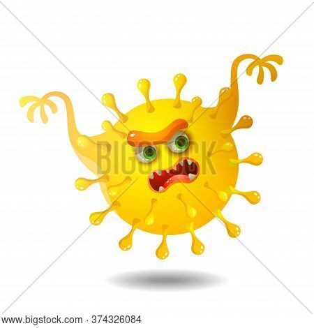 Funny Yellow Microbe On A White Background