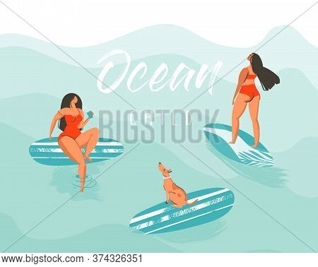 Hand Drawn Vector Abstract Summer Time Fun Illustration Poster With Surfer Girls In Red Bikini With