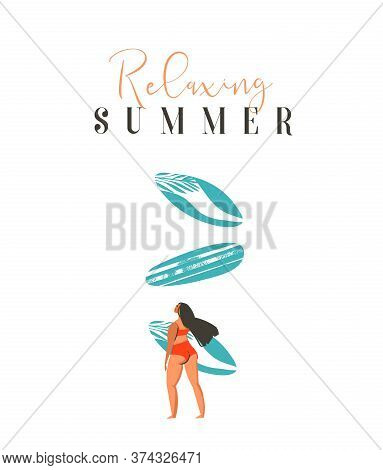 Hand Drawn Vector Abstract Cute Summer Time Beach Surfer Girl Illustration With Red Bikini, Surfboar