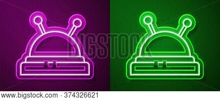Glowing Neon Line Needle Bed And Needles Icon Isolated On Purple And Green Background. Handmade And