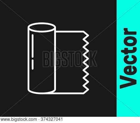 White Line Textile Fabric Roll Icon Isolated On Black Background. Roll, Mat, Rug, Cloth, Carpet Or P