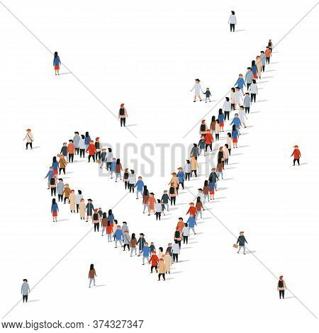 Large Group Of People In The Shape Of A Check Mark On A White Background. Yes Concept.