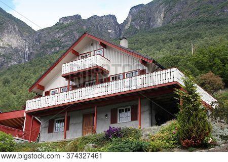 Sogn Og Fjordane, Norway - August 17, 2010: Generic Residential Building, Wooden House In Sogn Og Fj