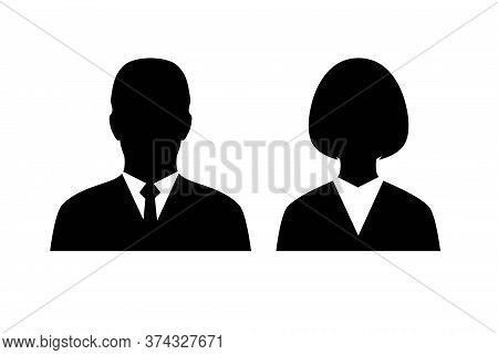 Male And Female Head Silhouettes Avatar. Avatar Profile