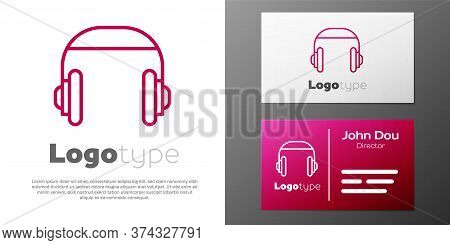 Logotype Line Headphones Icon Isolated On White Background. Support Customer Service, Hotline, Call