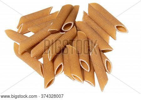 Pasta Stack Isolated On White. Italian Wholegrain Penne Lunch Ingredient. Healthy Eating For Vegetar