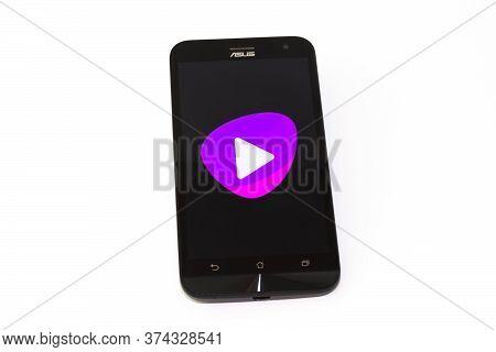 Kouvola, Finland - 23 January 2020: Telia Tv App Logo On The Screen Of Smartphone Asus