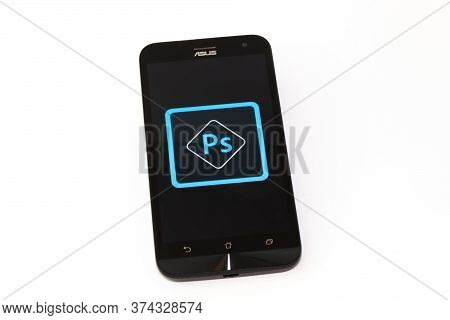 Kouvola, Finland - 23 January 2020: Adobe Photoshop App Logo On The Screen Of Smartphone Asus