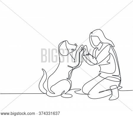 One Line Drawing Of Young Happy Woman Squat Then Giving High Five Gesture To His Dog At Outfield Par