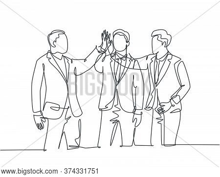 Single Line Drawing Of Young Happy Businessmen Celebrate Their Successive Business And Giving High F