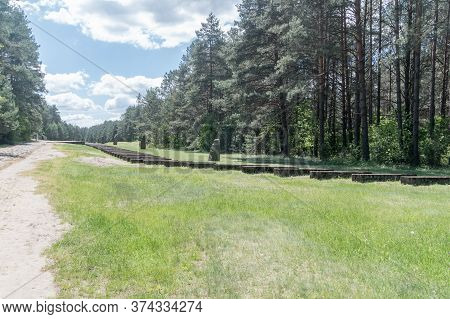 Wolka Okraglik, Poland - June 2, 2020: Black Road In Nazi German Extermination Camp Treblinka Ii.