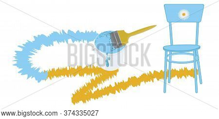 Paint Can, Brush, Blue Chair, Brush Stroke - Vector. Banner Diy Home Repair.