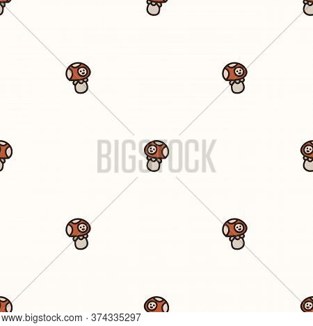 Seamless Background Toadstool Mushroom With Face Gender Neutral Baby Pattern. Simple Whimsical Minim