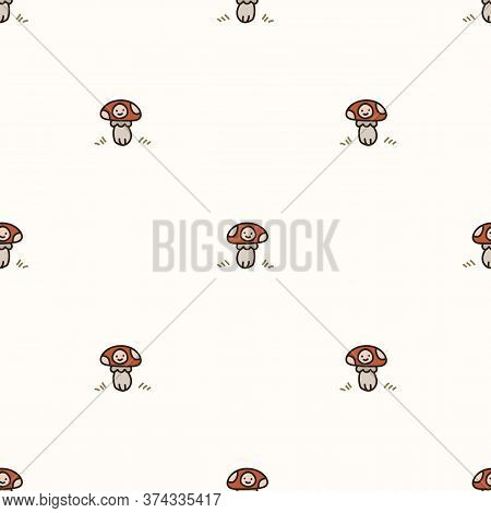 Seamless Background Toadstool Mushroom With Kawaii Face Gender Neutral Baby Pattern. Simple Whimsica