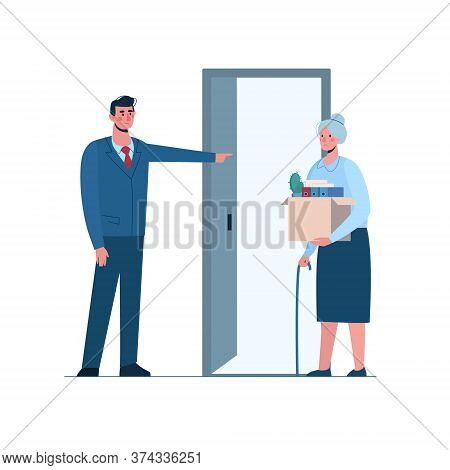 Retirement. Fired Old Woman Leaves The Office With A Box In His Hands. Boss Leaves Elderly Person Wi