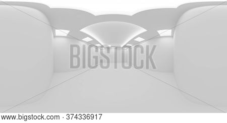 Hdri Environment Map Of Empty White Room With White Wall, Floor And Ceiling With Embedded Square Cei