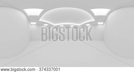 Hdri Environment Map Of White Empty Room With White Wall, Floor And Ceiling With Square Embedded Cei