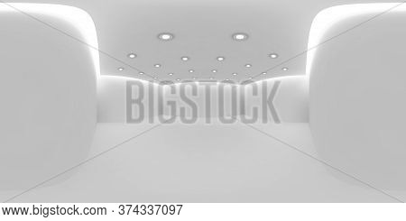 White Empty Room Hdri Environment Map With White Wall, Floor And Ceiling With Small Round Embedded C