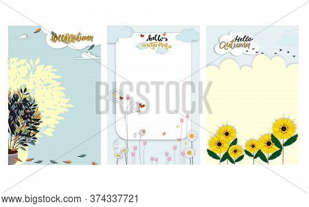 Set Of Cute Cartoon Autumn Landscape Farm Fild With Copy Space, Vector Hello Autumn With Tree Pot Pl