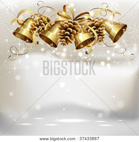 raster version of festive bells and cones on the Christmas background