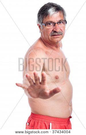 Shirtless Senior Man Stop
