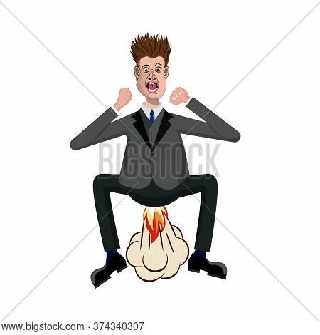Furious Outraged Vector Cartoon Business Man Huge Exploding And Farting With Fire From His Ass. Rage