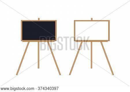 Easel With Black Board And White Board On White Background. Isolated Illustration Of Two Easels. Sch