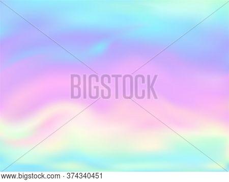 Hologram Effect Glitch Gradient Vector Design. Luminous Pastel Rainbow Unicorn Background. Liquid Co