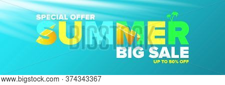 Vector Summer Sale Horizontal Web Banner Or Poster. Summer Sale Label With Typographic Text On Azure