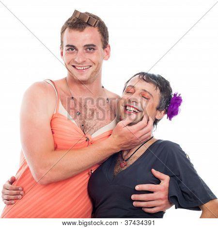 Laughing Transvestites Having Fun