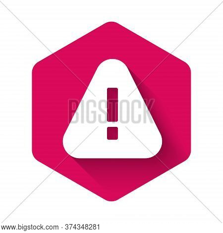 White Exclamation Mark In Triangle Icon Isolated With Long Shadow. Hazard Warning Sign, Careful, Att