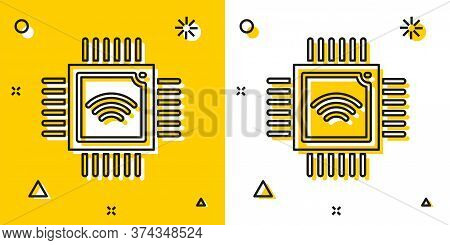 Black Computer Processor With Microcircuits Cpu Icon Isolated On Yellow And White Background. Chip O
