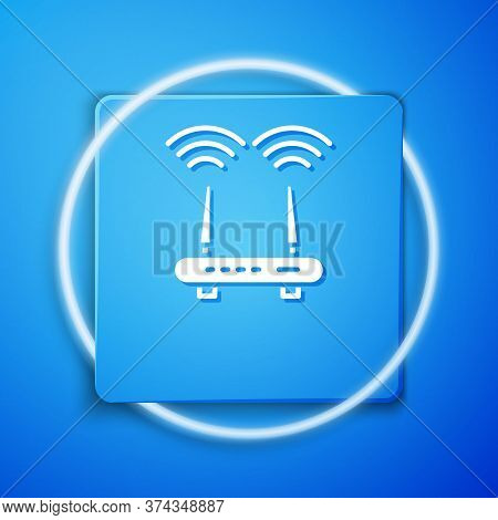 White Router And Wi-fi Signal Icon Isolated On Blue Background. Wireless Ethernet Modem Router. Comp