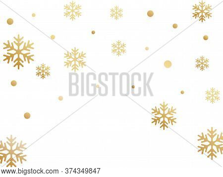 Crystal Snowflake And Circle Shapes Vector Illustration. Trendy Winter Snow Confetti Scatter Banner