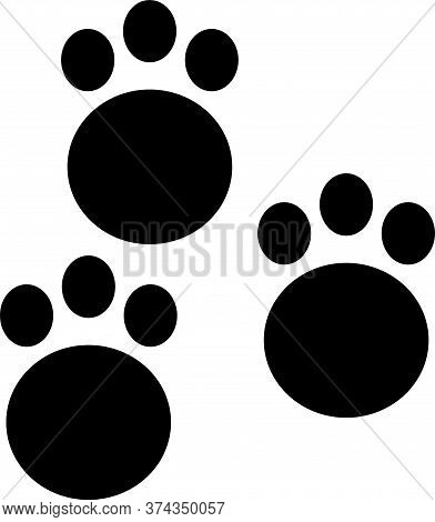 Black Paw Print Icon Isolated On White Background. Dog Or Cat Paw Print. Animal Track. Vector