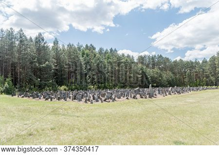 Wolka Okraglik, Poland - June 2, 2020: Stones Symbolising Gravestones At Nazi German Extermination C
