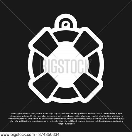 Black Lifebuoy Icon Isolated On Black Background. Lifebelt Symbol. Vector