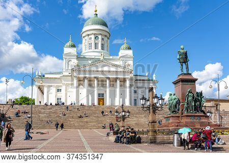 Helsinki Cathedral On Senate Square, Finland - June 2019
