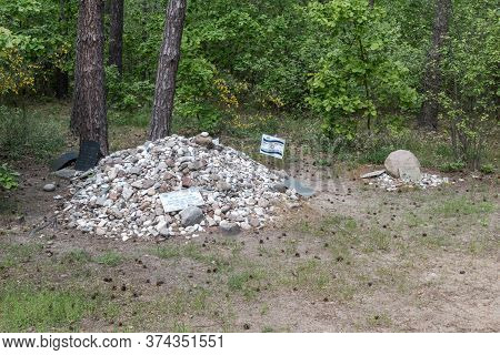 Wolka Okraglik, Poland - June 2, 2020: Stoned Stones At Treblinka, Nazi German Extermination Camp In