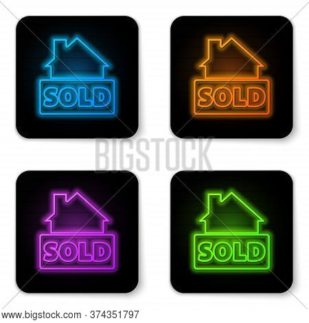 Glowing Neon Hanging Sign With Text Sold Icon Isolated On White Background. Sold Sticker. Sold Signb